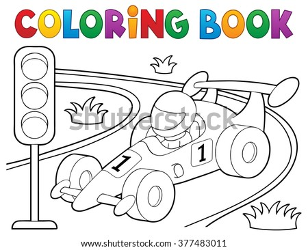 Coloring book racing car theme 1 - eps10 vector illustration. - stock vector