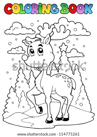 Coloring book reindeer theme 1 - vector illustration. - stock vector