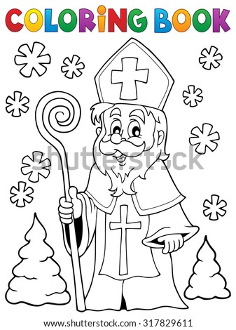Coloring book Saint Nicolas theme 1 - eps10 vector illustration. - stock vector