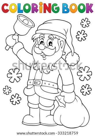 Coloring book Santa Claus with bell - eps10 vector illustration. - stock vector