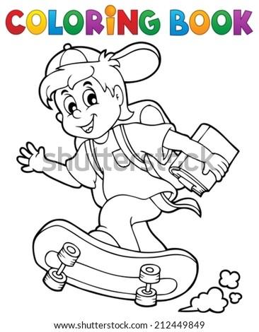 Coloring book school boy theme 1 - eps10 vector illustration. - stock vector