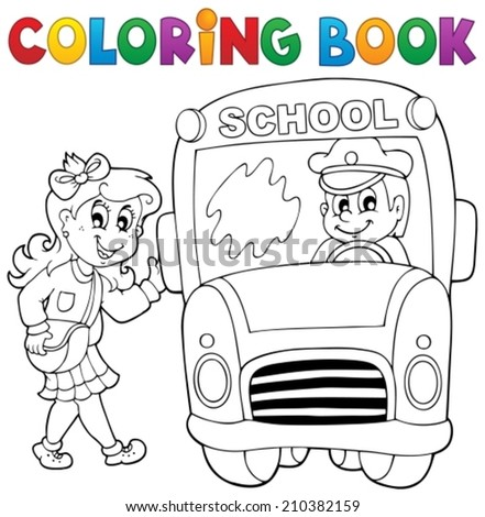 Coloring book school bus theme 3 - eps10 vector illustration. - stock vector