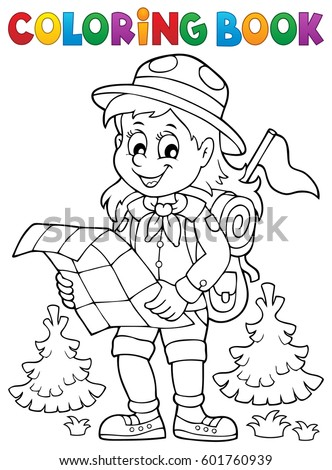 Coloring book scout girl theme 2 - eps10 vector illustration.