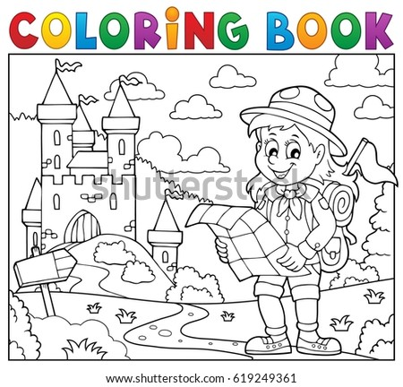 Coloring book scout girl theme 3 - eps10 vector illustration.
