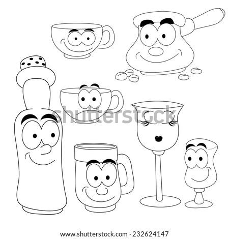 Coloring Book Set Funny Cartoon Tableware Stock Vector 232624147 ...