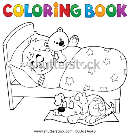 Coloring book sleeping child theme 2 - eps10 vector illustration. - stock vector