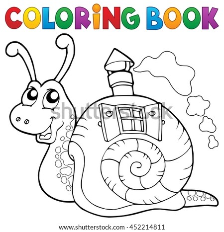 Coloring book snail with shell house - eps10 vector illustration.