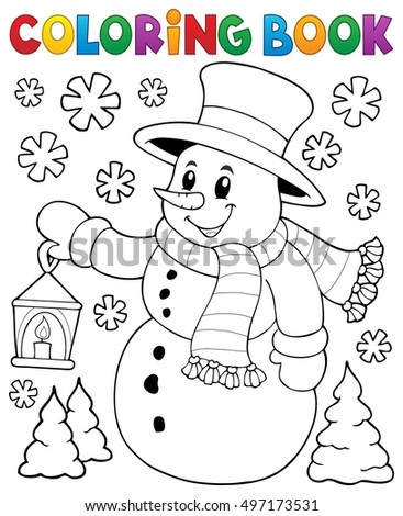 Coloring book snowman topic 2 - eps10 vector illustration.