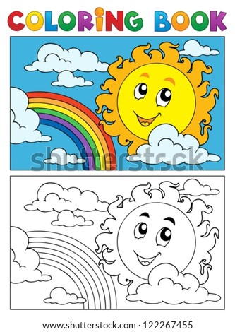 Coloring book summer image 1 - vector illustration. - stock vector