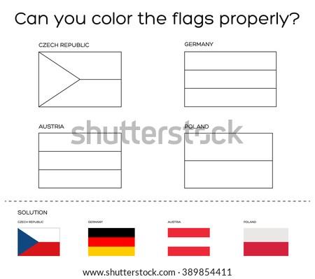 Coloring Book Task European Flags Solution Stock Vector Royalty