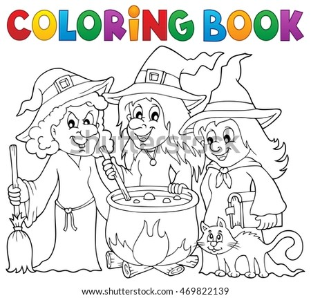 Coloring book three witches theme 1 - eps10 vector illustration.