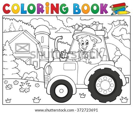 Coloring book tractor near farm theme 1 - eps10 vector illustration. - stock vector