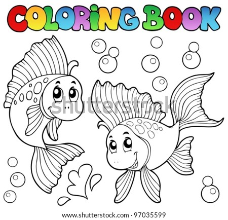 Coloring book two cute goldfishes - vector illustration. - stock vector