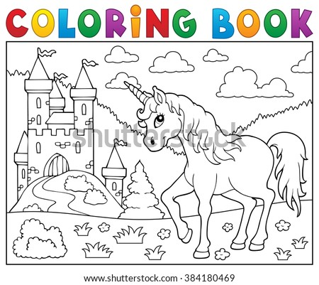 Coloring book unicorn near castle - eps10 vector illustration. - stock vector