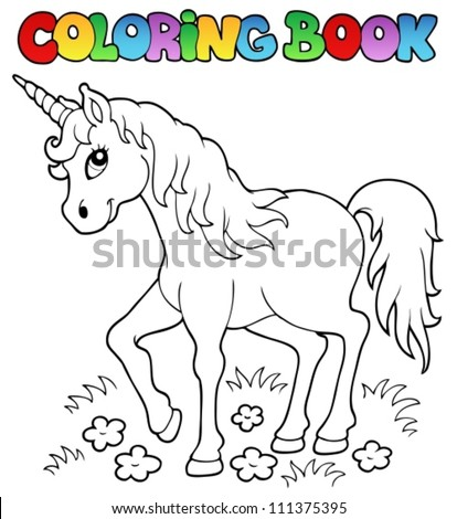 Coloring book unicorn theme 1 - vector illustration. - stock vector