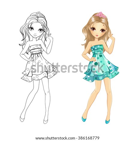Coloring Book Vector Illustration Of Beautiful Disco Girl In Turquoise Dress