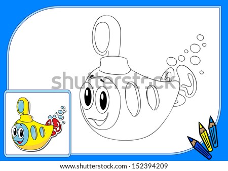 Coloring book. Vector illustration of funny yellow submarine - stock vector