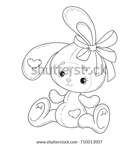 coloring book vector the bunny coloring book bunny with a bow teddy hare