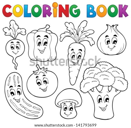 Coloring book vegetable theme 1 - eps10 vector illustration. - stock vector