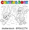 Coloring book winter theme 2 - vector illustration. - stock vector