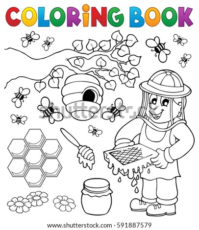Coloring book with beekeeper - eps10 vector illustration.