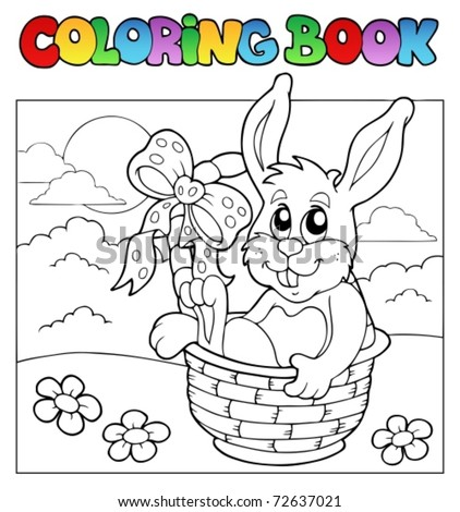 coloring book with bunny in basket vector illustration - Easter Coloring Book