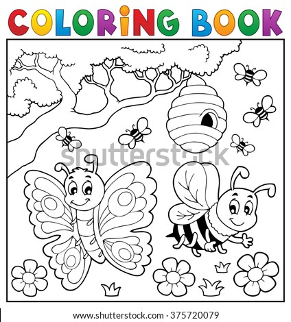 Coloring book with butterfly and bee - eps10 vector illustration. - stock vector