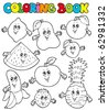 Coloring book with cartoon fruits 1 - vector illustration. - stock vector