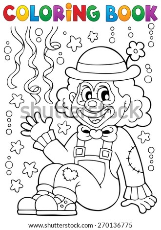 Coloring book with cheerful clown 4 - eps10 vector illustration. - stock vector
