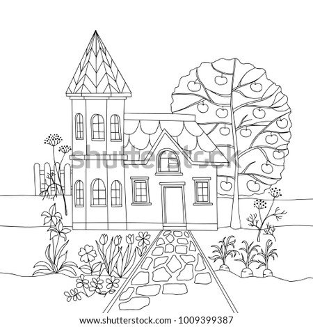 Coloring Book With Country House In Garden Vector Illustration