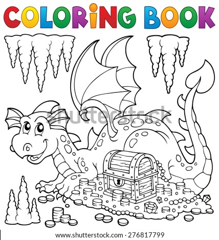 Coloring book with dragon and treasure - eps10 vector illustration. - stock vector
