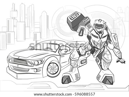 Coloring Book With Electronic Mechanisms Outline Vector Illustration Of A Robot Cyborg Car For
