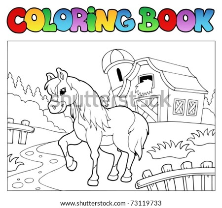 Coloring book with farm and horse - vector illustration. - stock vector