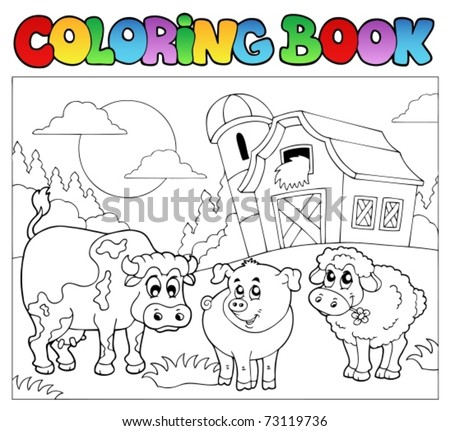 Coloring book with farm animals 3 - vector illustration. - stock vector