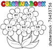 Coloring book with five flowers - vector illustration. - stock vector
