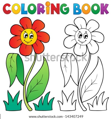 Coloring book with flower theme 3 - eps10 vector illustration. - stock vector