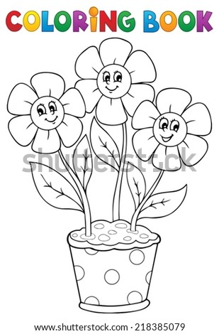Coloring book with flower theme 5 - eps10 vector illustration. - stock vector