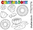 Coloring book with flowers set - vector illustration. - stock vector