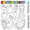 Coloring book with fruits images - vector illustration. - stock vector