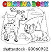 Coloring book with happy animals 1 - vector illustration. - stock vector