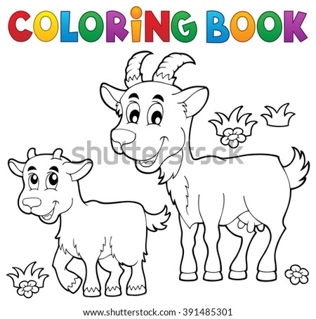 Coloring book with happy goats - eps10 vector illustration. - stock vector