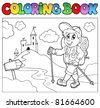 Coloring book with hiker boy - vector illustration. - stock vector