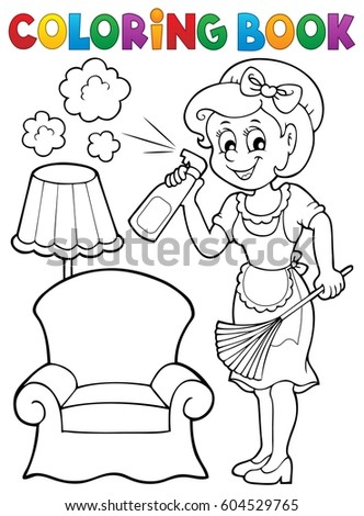 Coloring book with housewife 2 - eps10 vector illustration.