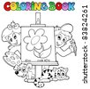 Coloring book with kids and canvas - vector illustration. - stock vector