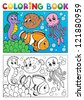 Coloring book with marine animals 4 - vector illustration. - stock photo