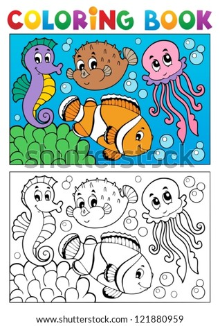Coloring book with marine animals 4 - vector illustration. - stock vector