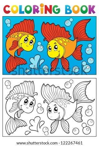 Coloring book with marine animals 8 - vector illustration. - stock vector
