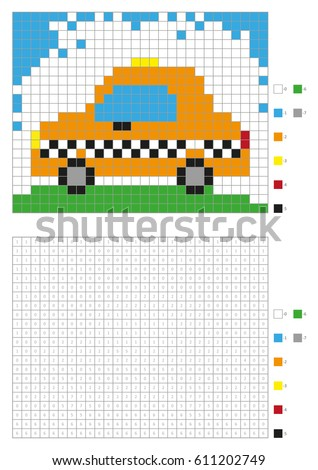 coloring book with numbered squares kids coloring page pixel coloring taxi car