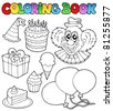 Coloring book with party theme 1 - vector illustration. - stock vector