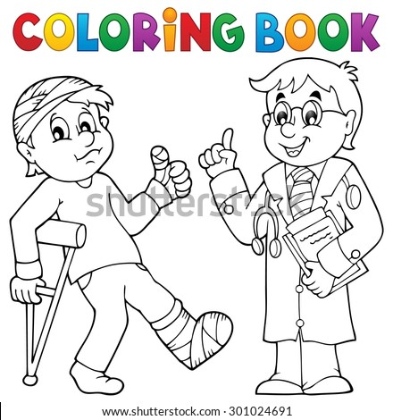 Coloring book with patient and doctor - eps10 vector illustration. - stock vector